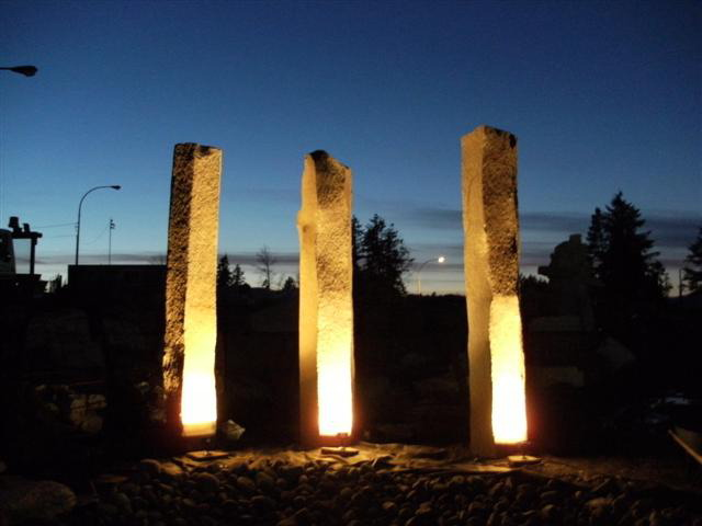 Basalt Columns at Hillside Yard, at night